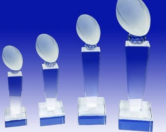 Football School Leadership Personalized Custom Laser Etched Engraving Crystal Championship Award  TH093-Fot