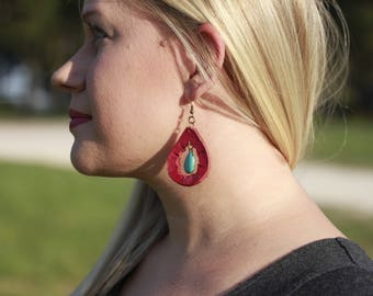 Blakely Pink & Turquoise Teardrop Earrings | Leather Earrings | Birthday Gift | Anniversary | Gifts under 25 | Handmade | Gifts for Her