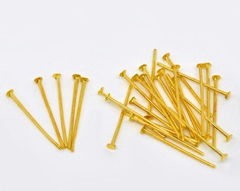 Xl18 - Set of 100 flat 20mm gold tone head pins