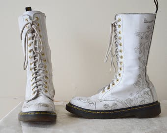 Etsy your place to buy and sell all things handmade 90s white 14 eye rose doc martens boots 7 mightylinksfo