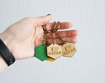 "Keychain ""I Love Catan "" Settlers of Catan  Handmade. Custom, Wood, Laser Cut. Trinket bibelot Board Game Pieces. In stock."