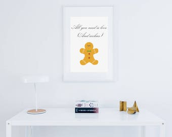 Christmas print phrase of songs ginger cookie.