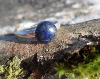 "Adjustable ring ""throat chakra"" lapis lazuli and Silver 925"