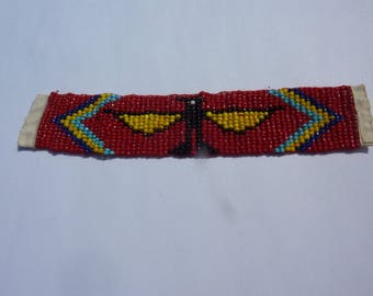 band style beadwork Native American Thunderbird red background for customization