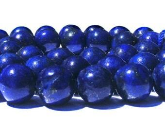 8 lapis lazulis de 8 mm pierre bleu nuit tacheté de bronze.