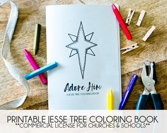 Printable PDF Jesse Tree Coloring Book - Christmas Advent Ornament Activity