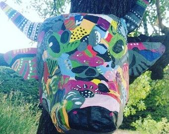 Trophee mural /muraux vache original abstraite Sculpture 3d en papier mâché Ô la vache!