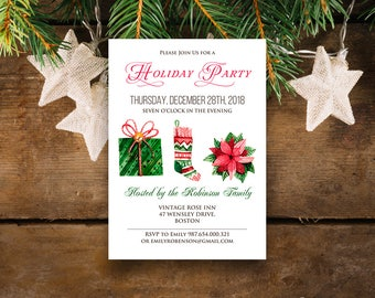 Holiday Party Invitations Template Printable Christmas Party Invites Winter Invitation Watercolor Christmas Sock Present Poinsettia Invites