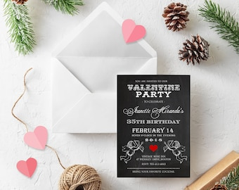 Valentines Birthday Party Invites February Birthday Printable Chalkboard Invitations Template Valentine Cupids Red Hearts Invitation Digital