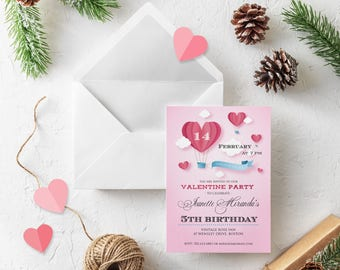 Valentines 5th Birthday Invitation Girls Fifth Birthday Printable Pink Invitation Valentines Hearts Clouds Invites Any Age Instant Download