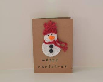 Snowman crochet Christmas card
