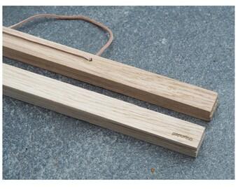 Wooden magnetic poster hanger oak leather