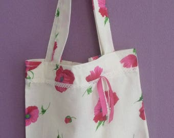 Bag / tote bag floral and lace