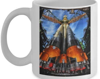 This Rocket Ship Launch Pad into Space 11 oz Ceramic Mug