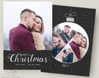 Silver Christmas Card Template, Black Photo Christmas Card Template, Photoshop Christmas Card Template, Holiday Card Template, PSD Template