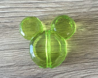 Pearl acrylic Mickey or Minnie - transparent green mouse head