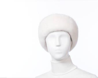 NATURAL White Mink Fur Headband