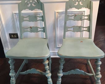 Shabby Chic vintage solid farm side chair's