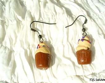 Cupcake Fimo polymer clay Brown polymer clay earrings