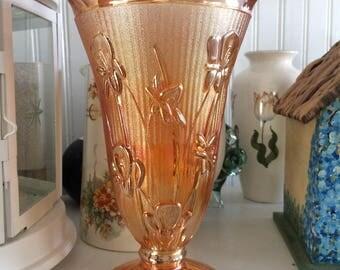Stunning Marigold Carnival Glass Vase