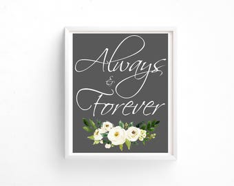 Floral Wedding Sign 8x10