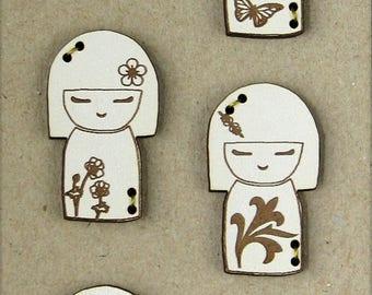 Decorative buttons wood buttons kokeshi.