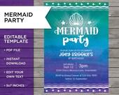 Mermaid Party Invite, Mer...