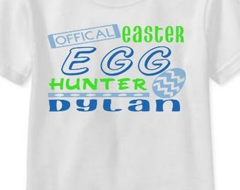 Easter Egg Toddler Shirt - Egg Hunter - Personalized Name Shirt - Customized Shirt - Girl or Boy Colors