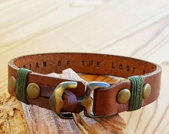 Personalized Gift for Boyfriend Gift for him Men Leather Bracelet Man Anchor Engraved Bracelet Anniversary
