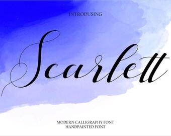 Calligraphy Font Handwritten Script Wedding Watercolor Instant Download - Scarlett Font