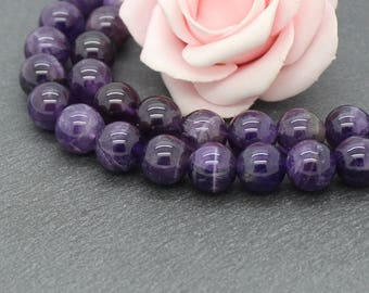x 4 round beads with semi precious stone of amethyst purple 10 mm PG37