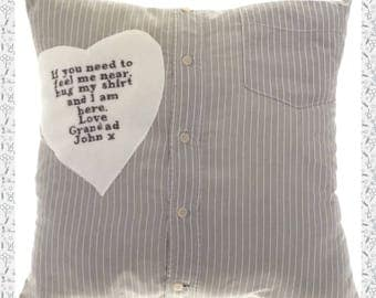 Personalised Grandad/Grandma Memory Cushion. Made from loved ones clothing.