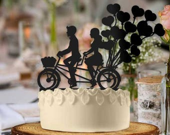 Bike Couple Heart Baloons Wedding Cake Topper