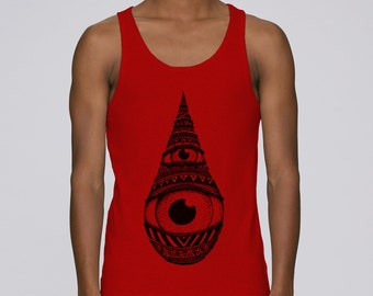 Man hand screen printed tank top / Drop / Red