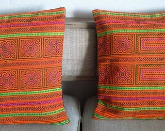 Orange embroidered pillow cover, Thai Hill Tribe, Hmong Textile, Hill Tribe Handmade.