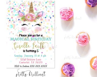 Magical Unicorn Invitation, Unicorn Birthday Invitation, Unicorn Party, Unicorn Party Invitation, Unicorn Invite, Unicorn, Unicorn Birthday