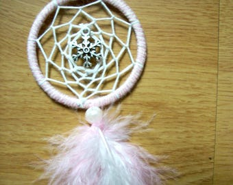 """Soft """"snow"""" pink and white dreamcatcher"""