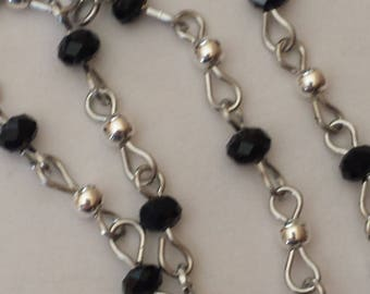 55cm of chain/beads 6mm black glass rondelles