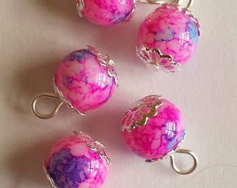 5 pendants 10mm pink/blue glass beads