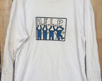 Keith Haring HELP Graphic Vintage 90s Basquiat pop art haring grafiti graphic design silver t shirt sz L