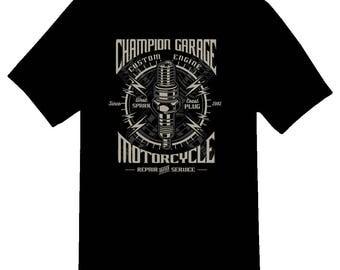 Spark Plug Champion garage motorcycles tee shirt 08012016