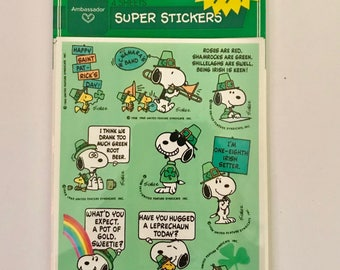 Ambassador by Hallmark 4 Sheets Super Stickers of Peanuts Snoopy St. Patrick's Day Vintage Decor Snoopy stickers