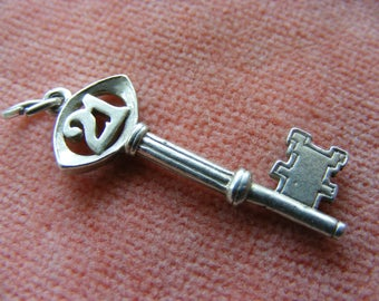 Nuvo Vintage Sterling Silver Charm 21st Birthday Key