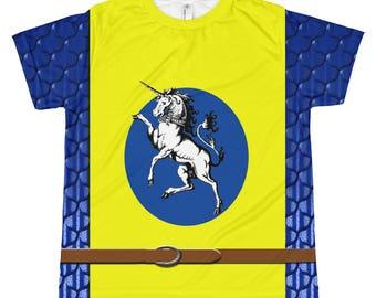 Gold Unicorn & Blue Dragonmail Medieval Surcoat Kid's T-shirt