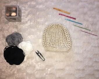 Hat crochet handmade Ecru