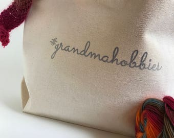 Grandmahobbies WIP Canvas Tote bag / Project Bag / Knitting Gift / Crotchet Gift