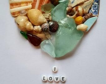 Cornish Pebble Shell Sea Glass Sea Pottery Love Heart Unique Gift Anniversary Birthday Wife Husband