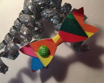 M&M bow, clip or elastic headband
