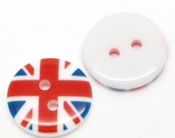 5 buttons 2 holes flag 18mm resin