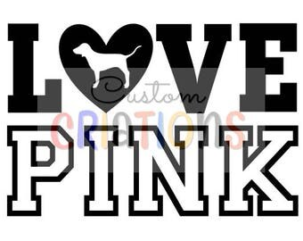 Love Pink VS Victoria Secret logo dog SVG cricut silhouette cutting file die cutter cameo heart vector